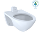 TOTO CT708UVG#01 Elongated Wall-Mounted Flushometer Toilet Bowl with Back Spud and CeFiONtect, Cotton White - CT708UVG#01