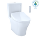 TOTO MW4463056CUMG#01 WASHLET+ Aquia IV 1G Two-Piece Elongated Dual Flush 1.0 and 0.8 GPF Toilet and Contemporary WASHLET S550e Bidet Seat, Cotton White - MW4463056CUMG#01