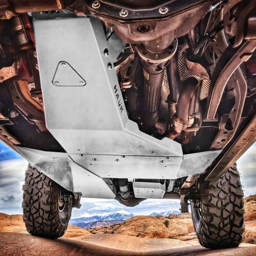 2018-Present 3.6L 4-Door Wrangler Complete Skid Plate System - Billet Silver Gloss