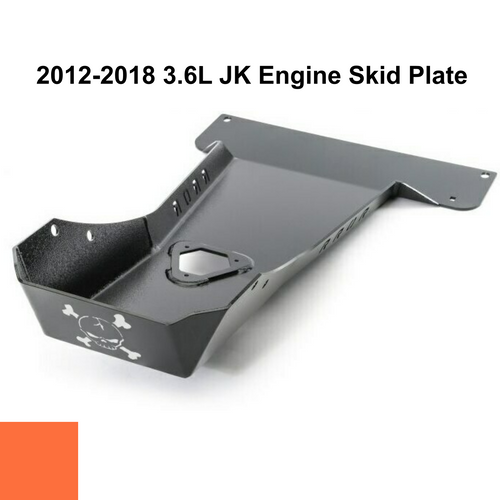 2012-2018 3.6L Pentastar Wrangler Engine Skid Plate - Punk'n Orange Gloss