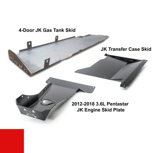 2012-2018 3.6L Pentastar 4-Door Wrangler - Complete Skid Plate System - Firecracker Red Gloss