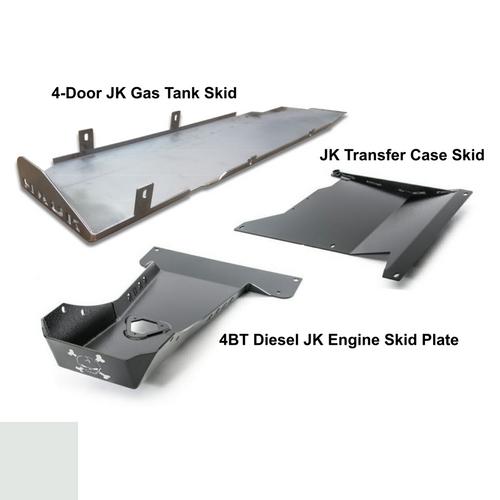 2007-2018 4BT Diesel 4-Door Wrangler - Complete Skid Plate System - White Gloss