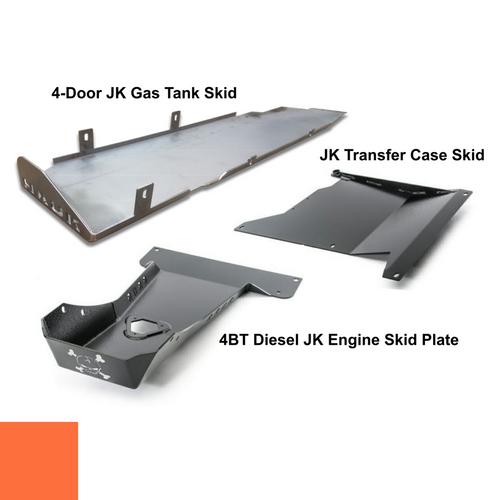 2007-2018 4BT Diesel 4-Door Wrangler - Complete Skid Plate System - Punk'n Orange Gloss