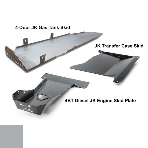 2007-2018 4BT Diesel 4-Door Wrangler - Complete Skid Plate System - Billet Silver