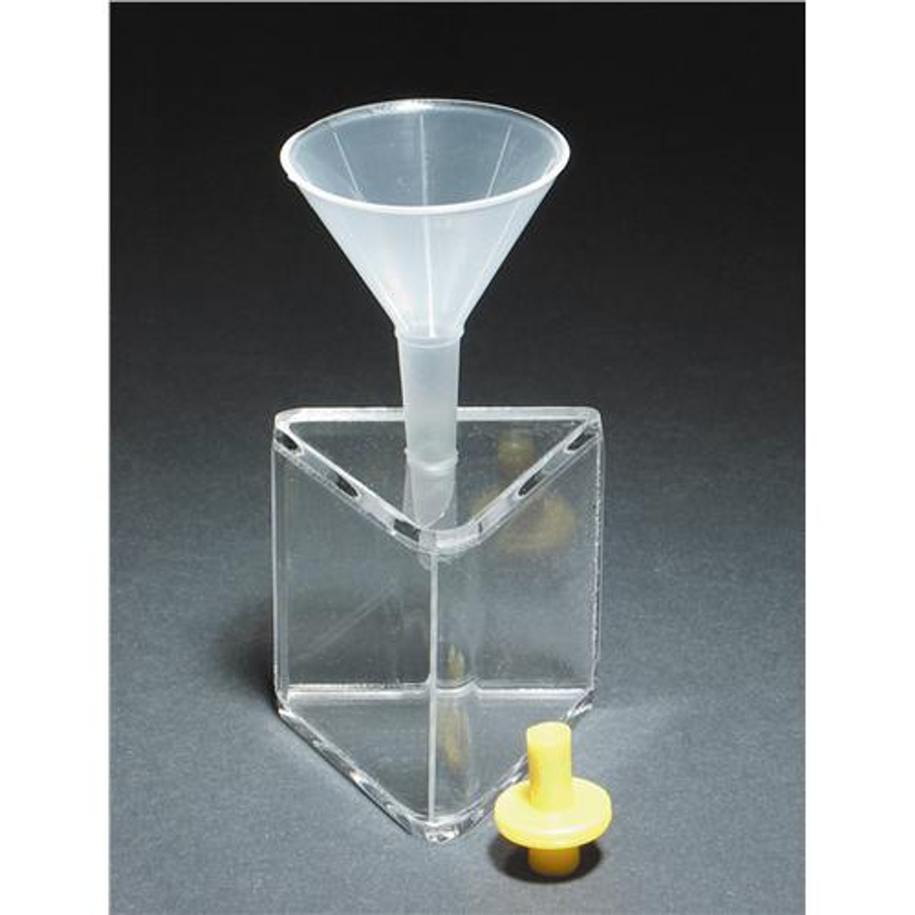 United Scientific Supplies PHA045 Hollow Acrylic Prism,w/ Funnel & Stopper  Hollow Acrylic Prism,w/ Funnel & Stopper (Each of 1)