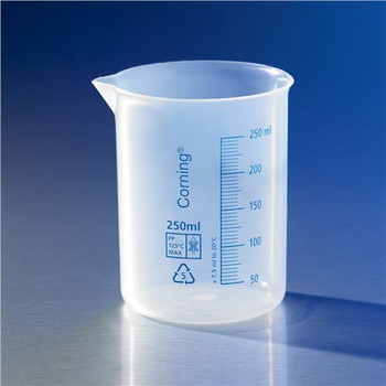 Corning 1000P-250 Reusable Plastic Low Form Beaker, Polypropylene Reusable Plastic Low Form 250mL Beaker, PP  (Case of 6)