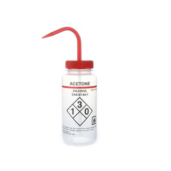 HS120250 Heathrow Safety-Labeled Wide Mouth Wash Bottles Wash Bottles, Self Venting, Wide Mouth, 500mL, Acetone Package of  6