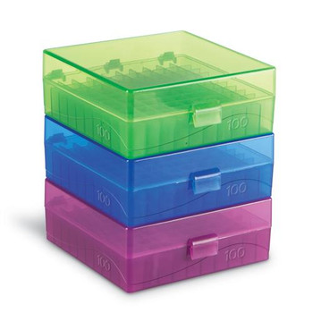 HS120201 Heathrow 100-Well Microtube Storage Boxes 100 Well Storage Box, Blue Package of  5