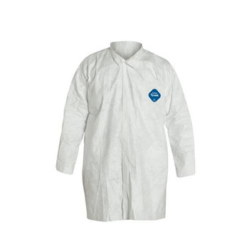TY210SWH5X003000 DuPont Tyvek White Frocks with Collar, Open Wrists, Front Snap Closure and Serged Seams (Case of 30)
