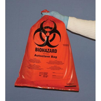 TufPak 1112-1224 Autoclavable Biohazard Bags, 2mil Autoclavable Biohazard Bags, Clear, 12 x 24\  (Case of 100)