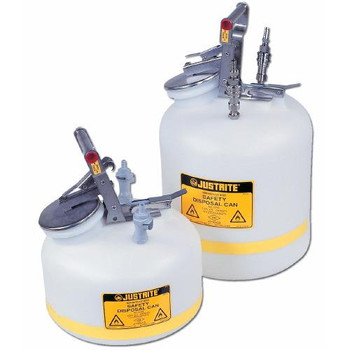 PP12755 Justrite Quick-Disconnect Safety Disposal Cans HPLC Safety Can, 5 Gallons w/2 PP Fittings Each of  1
