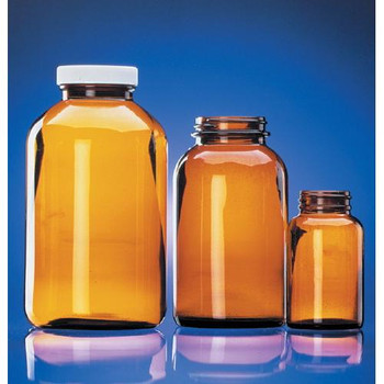 DWK Life Sciences (Wheaton) W216941 Amber Wide Mouth Glass Packers Amber Wide Mouth Bottle, 4 oz, White Polypropylene Cap with Polyvinyl Liner  (Case of 24)