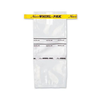 Nasco B01297WA Whirl-Pak Sterile Sample Bags with Write-On Surface Whirl-Pak Write-On Bags, 24 oz (710mL), Yellow Tape  (Box of 500)
