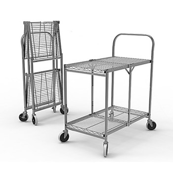 WSCC-2 Luxor Collapsible Wire Utility Carts Two-Shelf Collapsible Wire Utility Cart Each of  1