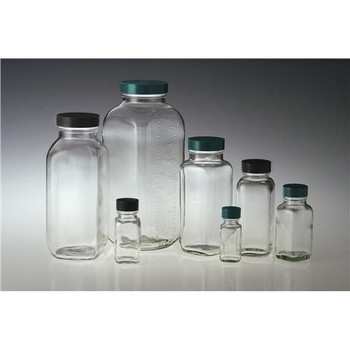 GLA-00829 Qorpak Clear French Squares 4oz (120ml) Clear French Square with 33-400 neck finish bottle only Case of  120
