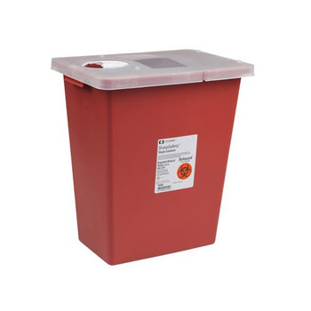 Covidien KEN 8991 Large Volume Containers with Hinged and Sealing Gasket Lid SharpSafety Sharps Container Hinged Lid, Red, 18 Gallon  (Case of 5)