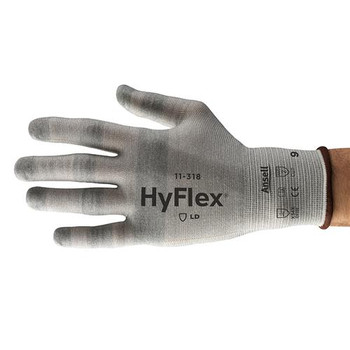 Ansell 256370 11-318 HyFlex 18 Gauge Cut Resistance ESD Knitted Gloves HyFlex 18 Gauge Cut Resistant ESD Knitted Glove, Size 10  (Package of 12)