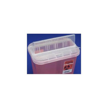Covidien KEN 89651 Horizontal-Drop Opening Lids SharpSafety Sharps Container, Horizontal Drop, Red, 2 Gallon  (Case of 20)