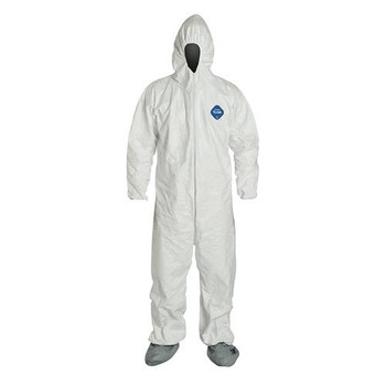 TY122SWH4X002500 DuPont COVERALLS made with DuPont Tyvek, with Elastic Wrists and Attached Hood and Sock Boots (Case of 25)
