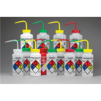 F12416-0011 Bel-Art Products Right-to-Know, Safety-Vented Wash Bottles with GHS Labeling (Package of 4)