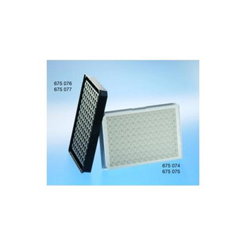 Greiner Bio-One 675097 96 Well Half Area Polystyrene Microplates 96W Half Area FLUOTRAC 600 Plate, PS, High Binding, Flat Bottom, Chimney Style, Black ??Clear  (Case of 40)