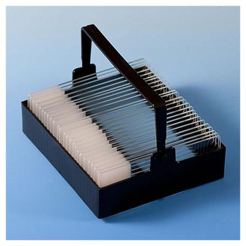 Globe Scientific 513220 Slide Staining Accessories Slide Staining Rack, Black POM, for 25 slides (for use with Dish #513222)  (Each of 1)