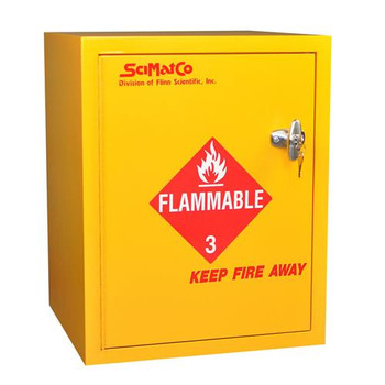 SC8023 SciMatCo Non-Metallic Safety Cabinets Bench Flammables Cabinet with Self-Closing Door, Yellow, 6 x 1 Gallon Each of  1