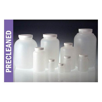 PLC-03526 Qorpak Cleaned for Metals Natural HDPE Wide Mouth Rounds with White Polypropylene SturdeeSeal PE Foam Caps (Case of 24)