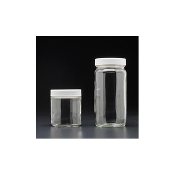 9-183-2 J.G. Finneran Clear Glass Straight Sided Wide Mouth Jars - Short & Tall, PTFE Lined, Precleaned (Package of 12)