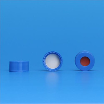 J.G. Finneran 5394-09FRB Preassembled Cap and Septa, 9-425 Cap Size, 9 mm Septa 9mm R.A.M. Ribbed Cap, Royal Blue with PTFE/Butyl Rubber Liner  (Package of 100)
