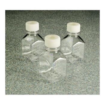 342023-0500 Thermo Scientific Nalgene Square PETG Media Bottles with Septum Closure: Sterile, Shrink-Wrapped Trays Media Bottle, PETG, STERILE w/ HDPE Septum Closure 500mL (38-430) Case of  40
