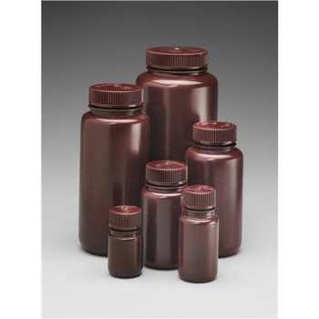 DS2185-0016 Thermo Scientific Nalgene Nalgene Amber Wide Mouth Economy HDPE Bottles Bottle Wide Mouth Amber 500 ml Case of  48