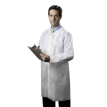 595935W Tronex Fluid-Resistant Spunbond Full-Length Lab Coats Coat, Lab, Spunbond, Full Length, Elastic Cuffs, Lapel Collar, Snap Front, No Pockets, Fluid Resistant, Latex-Free, White, XL Case of  30