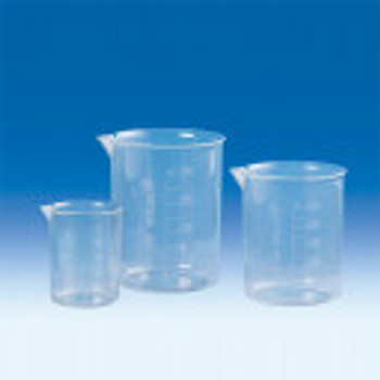 V61603 BrandTech Griffin Beakers, PMP, 3000 mL, 212 mm Height, 170 mm O.D., Molded Graduations (Pack of 4)