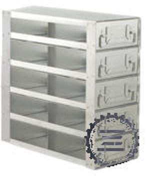 """RD242A Argos Technologies Upright Freezer Drawer Rack for 2"""" Cryoboxes, Holds 8 Boxes, Stainless Steel, 2 x 4 (1 Rack)"""