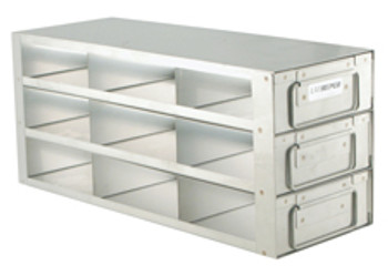 """RD332A Argos Technologies Upright Freezer Drawer Rack for 2"""" Cryoboxes, Holds 9 Boxes, Stainless Steel, 3 x 3 (1 Rack)"""