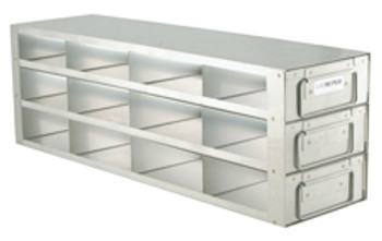 """RD432A Argos Technologies Upright Freezer Drawer Rack for 2"""" Cryoboxes, Holds 12 Boxes, Stainless Steel, 4 x 3 (1 Rack)"""