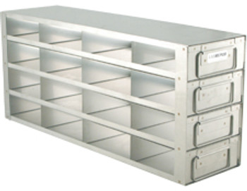 """RD442A Argos Technologies Upright Freezer Drawer Rack for 2"""" Cryoboxes, Holds 16 Boxes, Stainless Steel, 4 x 4 (1 Rack)"""