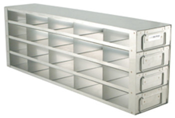 """Argos Technologies Upright Freezer Drawer Rack for 2"""" Cryoboxes, Holds 20 Boxes, Stainless Steel, 5 x 4 (1 Rack)"""