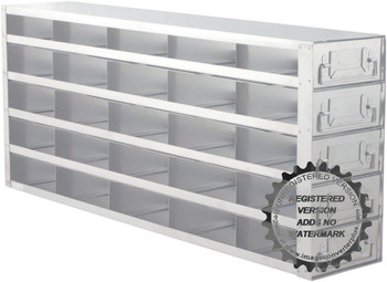 "Argos Technologies Upright Freezer Drawer Rack for 2"" Cryoboxes, Holds 25 Boxes, Stainless Steel, 5 x 5 (1 Rack)"