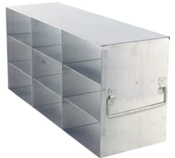 "RF333A Argos Technologies Upright Freezer Rack for 3"" Cryoboxes, Holds 9 Boxes, Stainless Steel, 3 x 3 (1 Rack)"