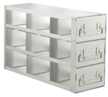 """RD243A Argos Technologies Upright Freezer Drawer Rack for 3"""" Cryoboxes, Holds 8 Boxes, Stainless Steel, 2 x 4 (1 Rack)"""