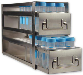 R5078A Argos Technologies Upright Freezer Drawer Rack for 50 mL Centrifuge Tubes, Holds 78 Tubes, Stainless Steel (1 Rack)
