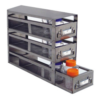 RDB033A Argos Technologies Upright Freezer Drawer Rack for Storage Bottles, Holds 3 Drawers of Storage Bottles, Stainless Steel (1 Rack)