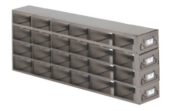 Argos Technologies Upright Freezer Drawer Rack for 25 Place Slide Boxes, Holds 24 Boxes, Stainless Steel (1 Rack)