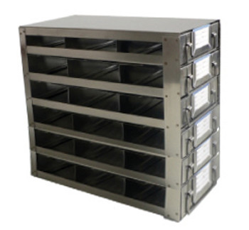 RDS2536A Argos Technologies Upright Freezer Drawer Rack for 25 Place Slide Boxes, Holds 18 Boxes, Stainless Steel (1 Rack)