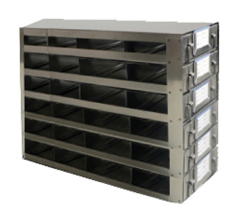 RDS2546A Argos Technologies Upright Freezer Drawer Rack for 25 Place Slide Boxes, Holds 24 Boxes, Stainless Steel (1 Rack)