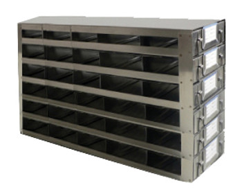 RDS2556A Argos Technologies Upright Freezer Drawer Rack for 25 Place Slide Boxes, Holds 30 Boxes, Stainless Steel (1 Rack)