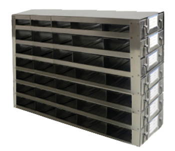 RDS2557A Argos Technologies Upright Freezer Drawer Rack for 25 Place Slide Boxes, Holds 35 Boxes, Stainless Steel (1 Rack)
