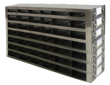 Argos Technologies Upright Freezer Drawer Rack for 25 Place Slide Boxes, Holds 42 Boxes, Stainless Steel (1 Rack)